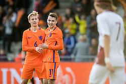 (L-R) Frenkie de Jong of Jong Oranje, Oussama Idrissi of Jong Oranje 1-0 during the EURO U21 2017 qualifying match between Netherlands U21 and Latvia U21 at the Vijverberg stadium on October 06, 2017 in Doetinchem, The Netherlands
