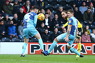 Burton Albion midfielder Marcus Harness (16) shoots at goal during the EFL Sky Bet League 1 match between Burton Albion and Wycombe Wanderers at the Pirelli Stadium, Burton upon Trent, England on 26 December 2018.