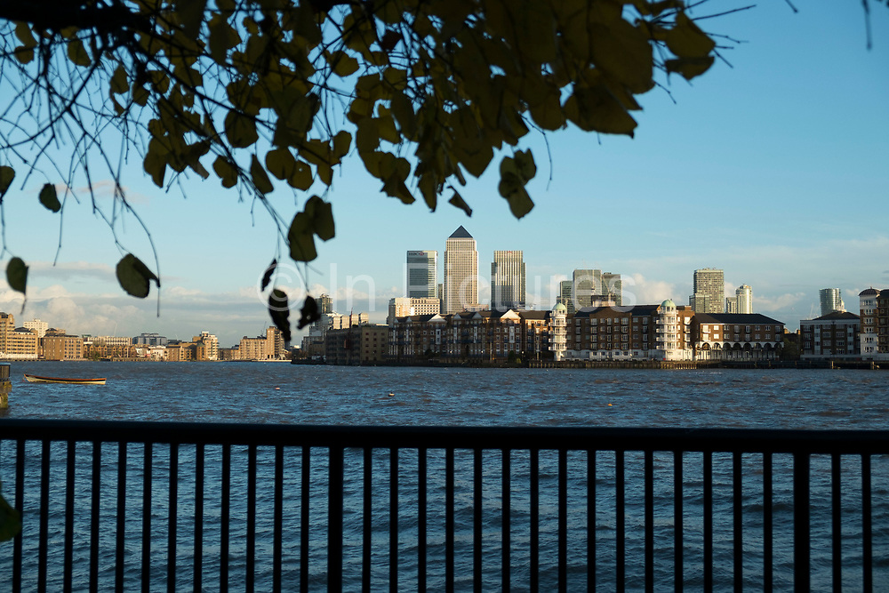 View across the River Thames from Wapping towards the financial district of Canary Wharf in London, England, United Kingdom. (photo by Mike Kemp/In Pictures via Getty Images)