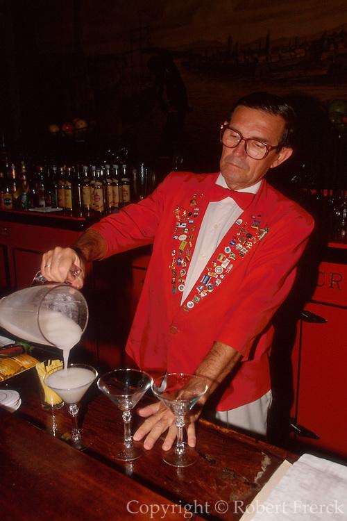 CUBA, HAVANA (CENTRO HABANA) EL Floridita, favorite bar of Ernest Hemingway, famous for it's daquiris, one invented by E. Hemingway