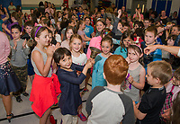 """Gilford Elementary students proudly ring the """"bell"""" after being named the 2018 EDies Elementary School of Excellence on Thursday morning.(Karen Bobotas/for the Laconia Daily Sun)"""