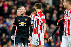 Wayne Rooney of Manchester United looks frustrated - Mandatory byline: Rogan Thomson/JMP - 26/12/2015 - FOOTBALL - Britannia Stadium - Stoke, England - Stoke City v Manchester United - Barclays Premier League - Boxing Day Fixture.