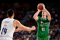Real Madrid's Gustavo Ayon and Unicaja Malaga's Alen Omic during semi finals of playoff Liga Endesa match between Real Madrid and Unicaja Malaga at Wizink Center in Madrid, May 31, 2017. Spain.<br /> (ALTERPHOTOS/BorjaB.Hojas)