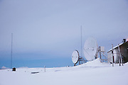 Isfjord Radio, and old radio telecommunications building, now accomodation for tourists in Spitsbergen. Spitsbergen is the largest island of the arctic archipelago Svalbard, of Norway