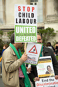 May Day march and rally at Trafalgar Square, May 1st, 2010 Stop Child Labour protest