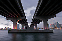 View of  Biscayne Bay with Julia Tuttle Causeway. Miami, Florida, USA