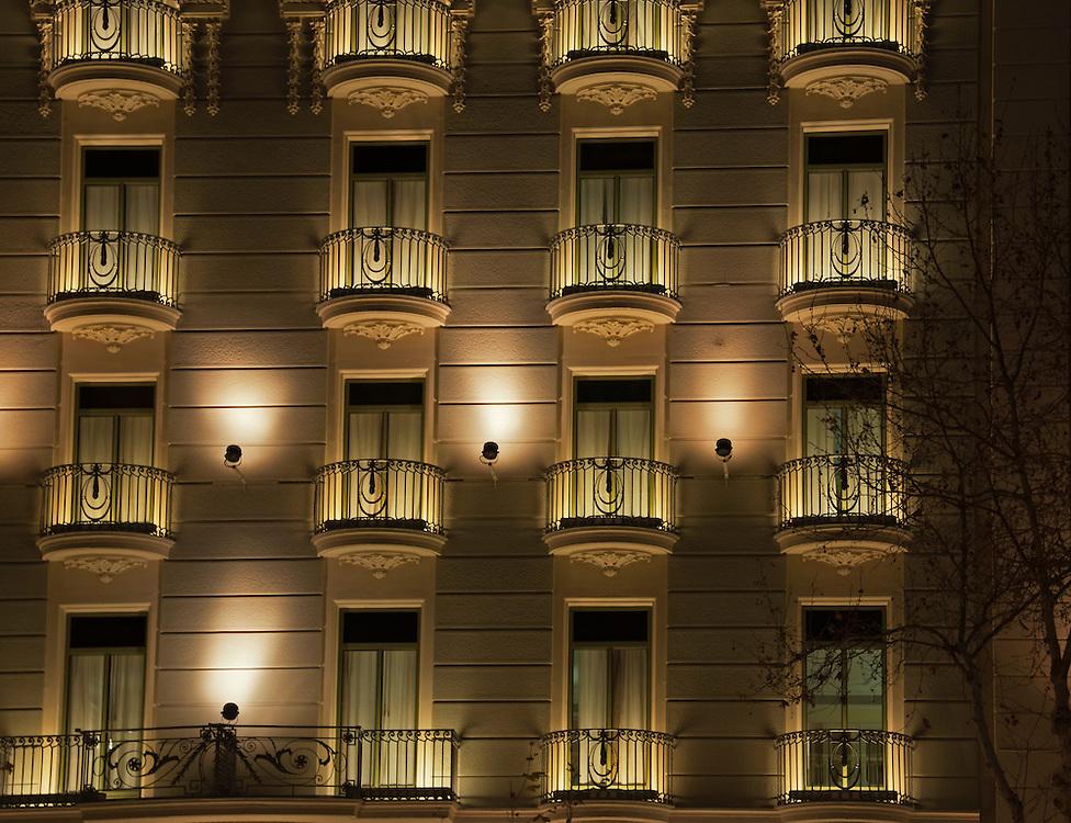 Balcony's at night in Barcelona.