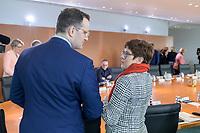 04 MAR 2020, BERLIN/GERMANY:<br /> Jens Spahn (L), CDU, Bundesgesundheitsminister, und Annegret Kramp-Karrenbauer (R), CDU, Bundesverteidigungsministerin, im Gespraech, vor Beginn der Kabinettsitzung, Bundeskanzleramt<br /> IMAGE: 20200304-01-016<br /> KEYWORDS: Kabinett, Sitzung, Gespäch
