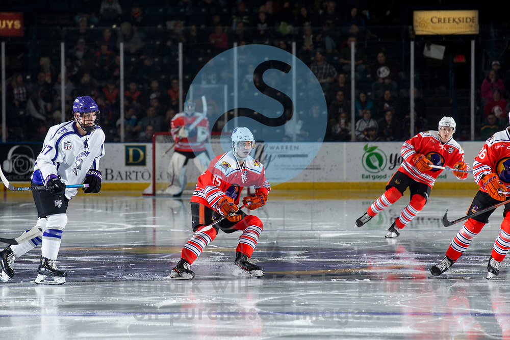 Youngstown Phantoms win 5-3 against the Tri-City Storm at the Covelli Centre on January 18, 2020.<br /> <br /> Garrett Dahm, forward, 15