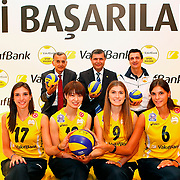 Vakifbank's new Japan player Saori Kimura Front Row (2ndL), Naz Aydemir (L), Tugce Hocaoglu, (2ndR) Jovana Brakocevic (R) seen during their presentation ceremony in Istanbul, Turkey on 10 September 2012. Photo by TURKPIX