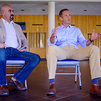 081915       Cable Hoover<br /> <br /> New Mexico house majority leader Nate Gentry, right, and district 1 representative Rod Montoya answer questions from media during a press conference in Farmington Wednesday.