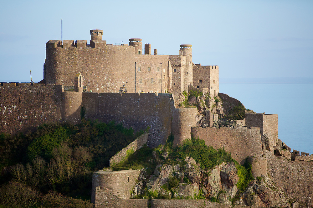 The tourist attraction and heritage site Mont Orgueil Castle, Gorey in sunshine in Jersey