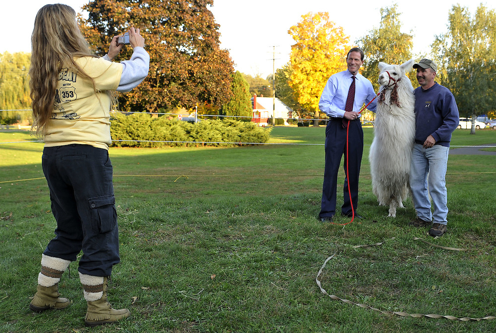 Donna Zurstadt, left, takes a photo of Democratic candidate for U.S. Senate Richard Blumenthal with John Papotto and a llama named Justin at a benefit for Meriden Det. Mike Siegler in Meriden, Conn., Saturday, Oct. 23, 2010.  The Connecticut Attorney General is battling former World Wrestling Entertainment CEO Linda McMahon for the senate seat being vacated by the retiring Sen. Chris Dodd.  (AP Photo/Jessica Hill).