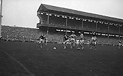 Galway player tries to save the ball from going into his own goal during All Ireland Senior Gaelic Football Championship Final Dublin V Galway at Croke Park on the 22nd September 1963. Dublin 1-9 Galway 0-10.