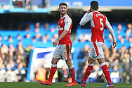 Shkodran Mustafi of Arsenal talking to Gabriel of Arsenal (r). Premier league match, Chelsea v Arsenal at Stamford Bridge in London on Saturday 4th February 2017.<br /> pic by John Patrick Fletcher, Andrew Orchard sports photography.