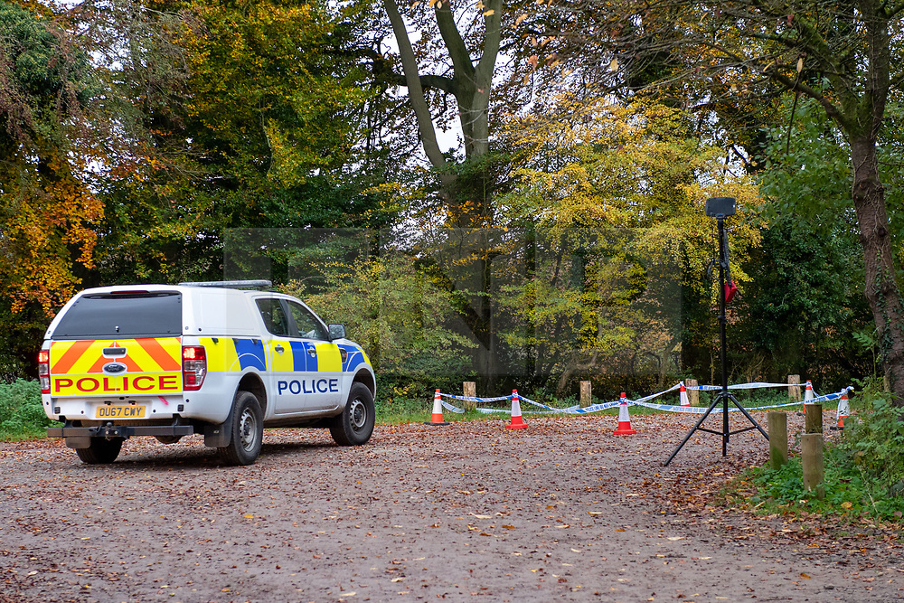 © Licensed to London News Pictures. 24/10/2020. Watlington Hill, UK. A police utility vehicle parked next to an area marked off by police cordon tape. A murder investigation has been launched by Thames Valley Police after the body of a woman in her sixties was located in woodland in the Watlington Hill National Trust Estate at approximatly 5:53pm on Friday 23/10/2020. Photo credit: Peter Manning/LNP