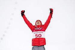 February 17, 2018 - Pyeongchang, SOUTH KOREA - 180217 Kamil Stoch of Poland (gold) celebrate at the podium after the men's large hill individual final during day eight of the 2018 Winter Olympics on February 17, 2018 in Pyeongchang..Photo: Carl Sandin / BILDBYRÃ…N / kod CS / 57999_303 (Credit Image: © Carl Sandin/Bildbyran via ZUMA Press)