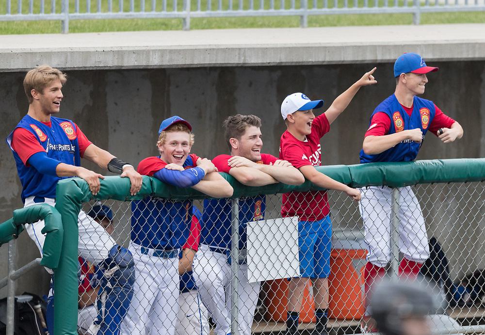 From left, Owen Richter, Max Mandel, Evan Laney, Grayson Gilbert and Matt Keating cheer from the dugout. Post 1 Omaha, Nebraska, played Post 307 Renner, South Dakota, in a legion baseball game at Creighton Prep on Wednesday, June 20, 2018, in Omaha, Nebraska.