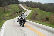 Bill Dragoo carving a curve on Highway 90 east of Noel, Missouri