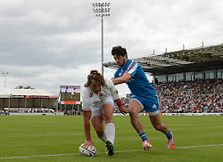 Daniel Bibby of England scores a try - Photo mandatory by-line: Dougie Allward/JMP - Mobile: 07966 386802 - 11/07/2015 - SPORT - Rugby - Exeter - Sandy Park - European Grand Prix 7s
