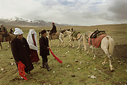 """The groom (white turban), his elder sister (white veil) and the wedding organizer (black hat), walk slowly one step at a time, to the yurt where the bride and groom will spend their first night. Meanwhile, some of the bride's dowry is displayed: three white horses.  After each step taken, they wave the red cloth in their hand, saying """"Tulkulututum Pogolotchutun"""", which, in Kyrgyz, means """"Congratulation for your wedding"""".<br /> <br /> The Kyrgyz wedding ceremony of Koormoochoo Saïra (son of Yunus Amid) in Utch Djelgha summer camp, 5th August 20005.<br /> <br /> Adventure through the Afghan Pamir mountains, among the Afghan Kyrgyz and into Pakistan's Karakoram mountains. July/August 2005. Afghanistan / Pakistan."""