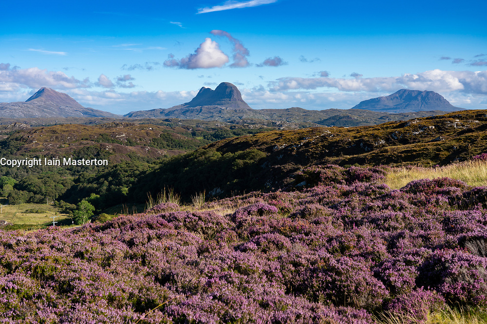 View of mountains in Assynt Coigach region of Scottish Highlands, Scotland, UK