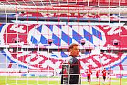 Manuel NEUER, FCB 1 beim Aufwärmen, Bayern Logo during the Bayern Munich vs Borussia Monchengladbach Bundesliga match at Allianz Arena, Munich, Germany on 13 June 2020.