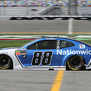 Alex Bowman, driver of the #88 Nationwide Insurance Chevrolet is seen during practice for the 60th Annual NASCAR Daytona 500 auto race at Daytona International Speedway on Friday, February 16, 2018 in Daytona Beach, Florida.  (Alex Menendez via AP)