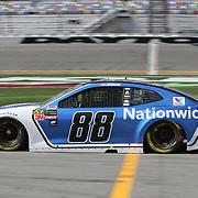 Alex Bowman, driver of the #88 Nationwide Insurance Chevrolet is seen during practice for the 60th Annual NASCAR Daytona 500 auto race at Daytona International Speedway on Friday, February 16, 2018 in Daytona Beach, Florida.  (Alex Menendez via AP)