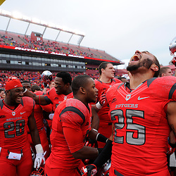 10 November 2012: Rutgers Scarlet Knights defensive back Brandon Jones (25) yells in celebrating his team's victory during NCAA college football action between the Rutgers Scarlet Knights and Army Black Knights at High Point Solutions Stadium in Piscataway, N.J.. Rutgers defeated Army 28-7.