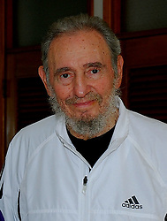 Former Cuban President Fidel Castro makes a new appearance as he receives Chili's President Michelle Bachelet in Havanna, Cuba on February 12, 2009. Photo by ABACAPRESS.COM  | 178389_002 Havanna Cuba