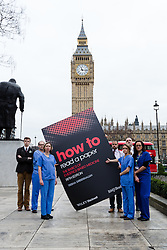 © Licensed to London News Pictures. 21/01/2016. London, UK. Junior doctors and senior academics protest Jeremy Hunt's use of misleading statistics for political gain in front of the Houses of Parliament. Photo credit : Vickie Flores/LNP