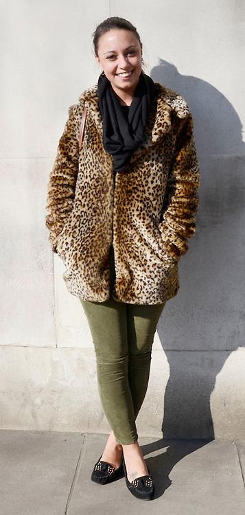 Street fashion in London. 19/02/2013 Tabatha Trustam/CatchlightMedia.Kate Mungur, Style icon: Fern Cotton, Twitter: @kate.mungur