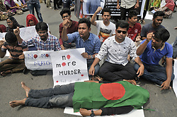 March 27, 2019 - Sylhet, Bangladesh - Students of different schools, colleges and universities of Sylhet protesting the death of Ghori Mohammad Wasim Abbas, 21, a student of Sylhet Agricultural University. Wasim intentionally murdered after being pushed off a bus by its conductor and crushed  under the rear wheels in Sylhet- Dhaka Highway on 23 March last. (Credit Image: © Md Rafayat Haque Khan/ZUMA Wire)