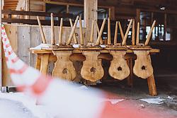 THEMENBILD - Stühle auf einem Tisch von einer geschlossenen Apres Ski Bar, aufgenommen am 18. Januar 2021 in Kaprun, Österreich // Chairs on a table from a closed apres ski bar, Kaprun, Austria on 2021/01/18. EXPA Pictures © 2021, PhotoCredit: EXPA/ JFK