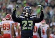 Aug 25, 2017; Seattle, WA, USA; Seattle Seahawks defensive back Neiko Thorpe (23) reacts during a NFL football game against the Kansas City Chiefs at CenturyLink Field. The Seahawks defeated the Chiefs 26-13.