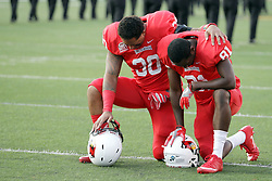 02 September 2017:   Josh Barajas and Tanner Taula pray in the end zone before the Butler Bulldogs at  Illinois State Redbirds Football game at Hancock Stadium in Normal IL (Photo by Alan Look)