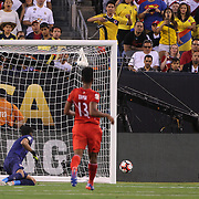 EAST RUTHERFORD, NEW JERSEY - JUNE 17: James Rodriguez #10 of Colombia hits the post with a shot  during the Colombia Vs Peru Quarterfinal match of the Copa America Centenario USA 2016 Tournament at MetLife Stadium on June 17, 2016 in East Rutherford, New Jersey. (Photo by Tim Clayton/Corbis via Getty Images)