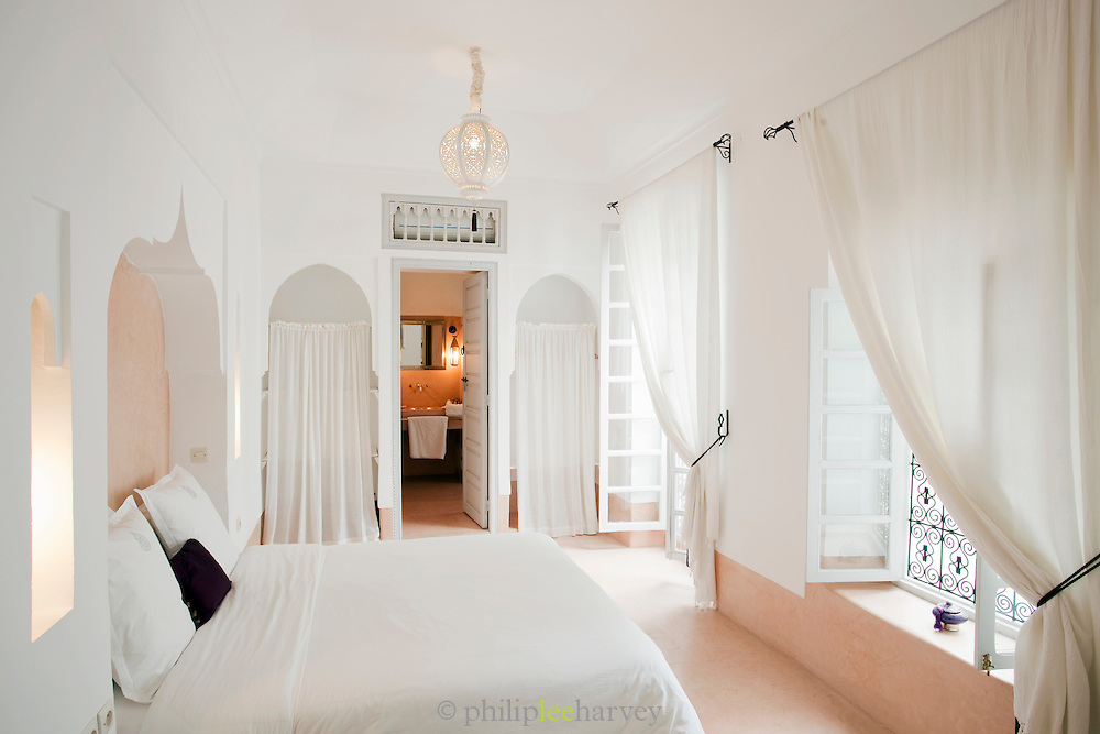 Bedrooms of a Riad, traditional Moroccan house, converted into a luxury hotel in Marrakech, Morocco