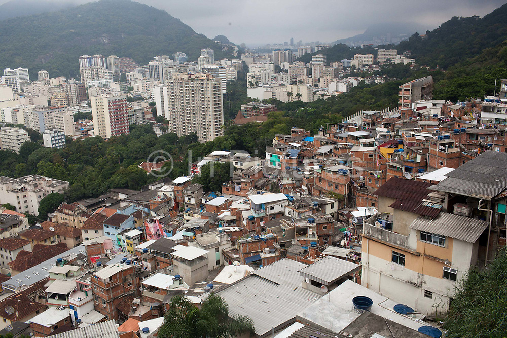 View from the top of favela Santa Marta in Botafogo on a misty day, Rio de Janeiro.