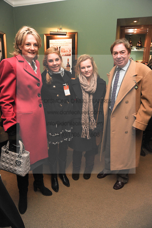 Left to right, LADY LLOYD WEBBER, LIZZIE STEWART, BELLA LLOYD WEBBER and LORD LLOYD WEBBER at the Hennessy Gold Cup 2010 at Newbury Racecourse, Berkshire on 27th November 2010.