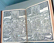 Blockbook Bible for the poor circa 1465. Each page was printed from a single woodblock, a method that was used for works in high demand. Although this is called a bible for the poor with scenes from Christ's life paralleled by ones from the Old Testament along with an explanatory text, it suggests an educated, well-off readership.