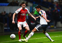 Fleetwood Town's Josh Morris competes with Bolton Wanderers' Thibaud Verlinden<br /> <br /> Photographer Richard Martin-Roberts/CameraSport<br /> <br /> The EFL Sky Bet League One - Bolton Wanderers v Fleetwood Town - Saturday 2nd November 2019 - University of Bolton Stadium - Bolton<br /> <br /> World Copyright © 2019 CameraSport. All rights reserved. 43 Linden Ave. Countesthorpe. Leicester. England. LE8 5PG - Tel: +44 (0) 116 277 4147 - admin@camerasport.com - www.camerasport.com