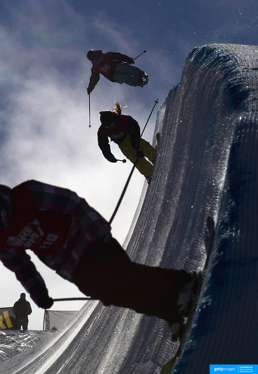 Competitors practice before competition in the Halfpipe Finals during The North Face Freeski Open at Snow Park, Wanaka, New Zealand, 3rd September 2011. Photo Tim Clayton..