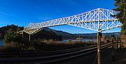 USA, Oregon, Cascade Locks, Columbia Gorge National Scenic Area, Bridge of the Gods. digital composite, panorama