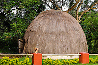 Traditional hut close to Matsamo, a South Africa-Swaziland border crossing. The Kingdom of Swaziland.