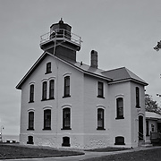 """""""Grand Traverse Lighthouse"""" mono<br /> <br /> Wonderful Grand Traverse Lighthouse on Lake Michigan. One of many historic lighthouses in the Traverse City area. <br /> <br /> Lighthouses of the Great Lakes by Rachel Cohen"""