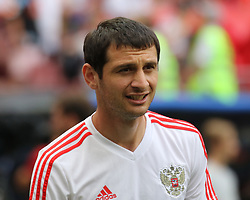 July 1, 2018 - Moscow, Russia - July 01, 2018, Russia, Moscow, FIFA World Cup 2018, the playoff round. Football match Spain - Russia at the stadium Luzhniki. Player of the national team Alan Dzagoev. (Credit Image: © Russian Look via ZUMA Wire)