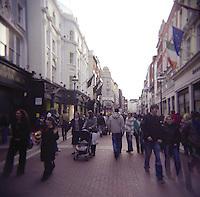 Shopping area; Grafton street in Dublin Ireland on a busy day