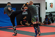 """UFC heavyweight Alistair Overeem of The Netherlands and UFC welterweight Donald """"Cowboy"""" Cerrone of Colorado spar at Jackson Wink MMA in Albuquerque, New Mexico on June 9, 2016."""